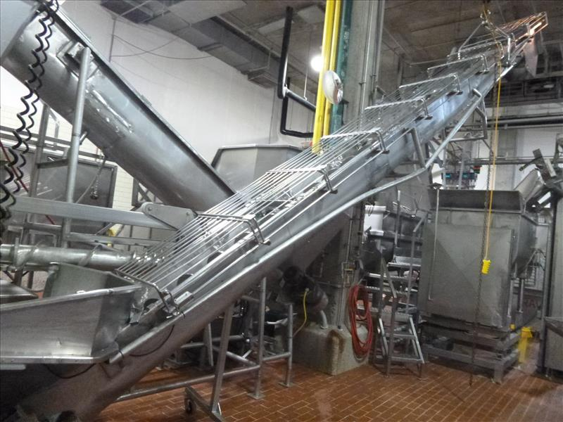 s/s inclined screw conveyor 12 in. diam. x 23 ft. L. w/ hopper  on casters