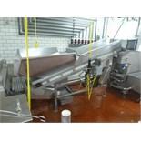 s/s inclined conveyor 20 in. x 8 ft. plastic belt c/w Aro pump