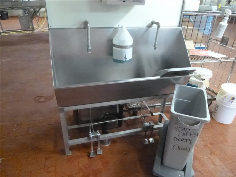 hand wash sink s/s 2-station foot-operated