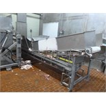 s/s frame conveyor w/ 30 in. x 16 ft. plastic belt c/w Weigh-Tronix mod. WI-110 weight indicator &
