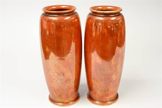 Ruskin Pottery A Pair Of Orange Lustre Vases 1921 Of Elongated