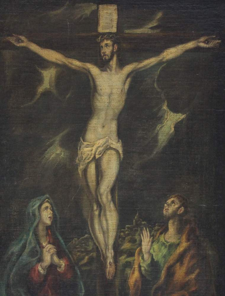Domínikos Theotokópoulos called El Greco (1541-1614)-attributed, The Crucifixion at Golgata with - Image 3 of 3