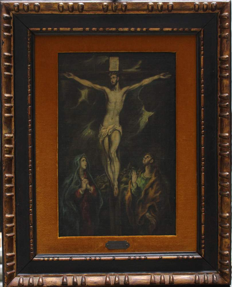 Domínikos Theotokópoulos called El Greco (1541-1614)-attributed, The Crucifixion at Golgata with