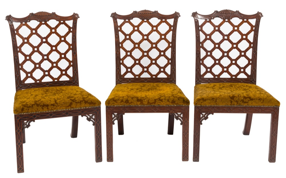 Lot 931 - A fine set of eight George III carved mahogany dining chairs in the manner of Robert Manwaring:,