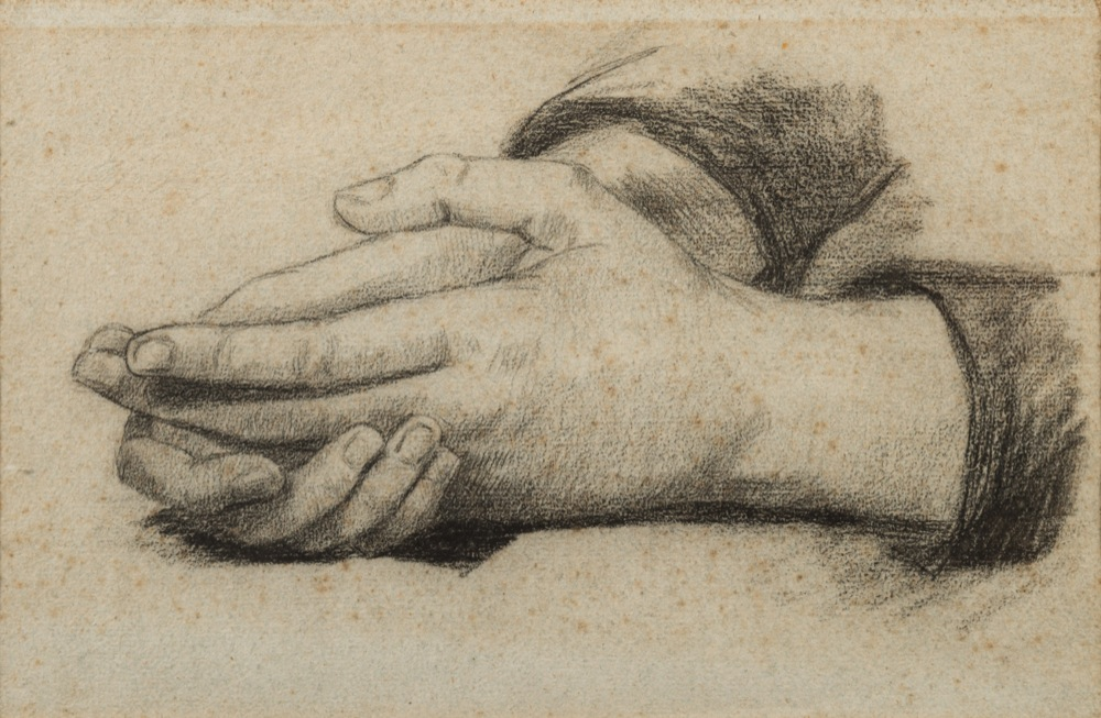 Lot 378 - Thomas Cooper Gotch [1854-1931]- Study of Clasped hands,:- charcoal drawing on paper, 16.5 x 25.5cm.