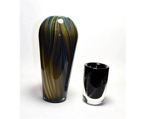 Kosta glass vase, signed, along with an Italian cased vase (2)