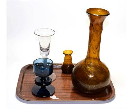 Clutha type carafe and glass and other pieces including an 18th century double series opaque twist wine glass..  Wineglass wi