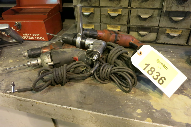 Lot 1836 - [Lot] Hand drills, (2) Hilti, (1) Skil, (1) Black & Decker, (1) pneumatic