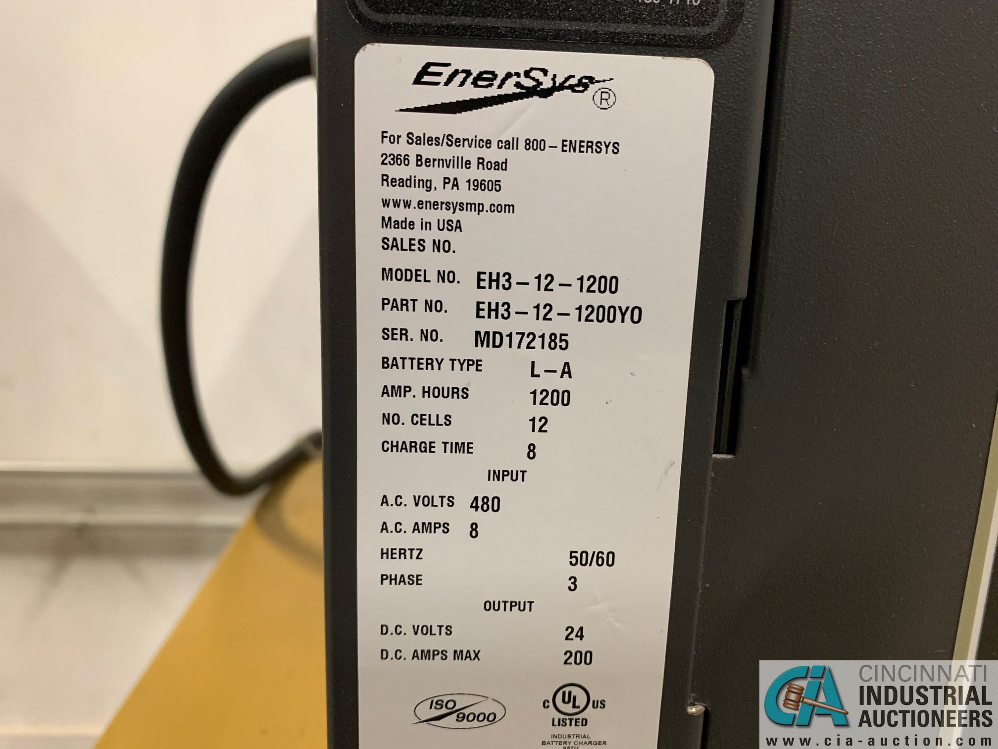 ENERSYS MODEL EH3-12-1200 ENFORCER HF BATTERY CHARGER WITH STAND **LOCATED BY START OF SALE** - Image 4 of 4