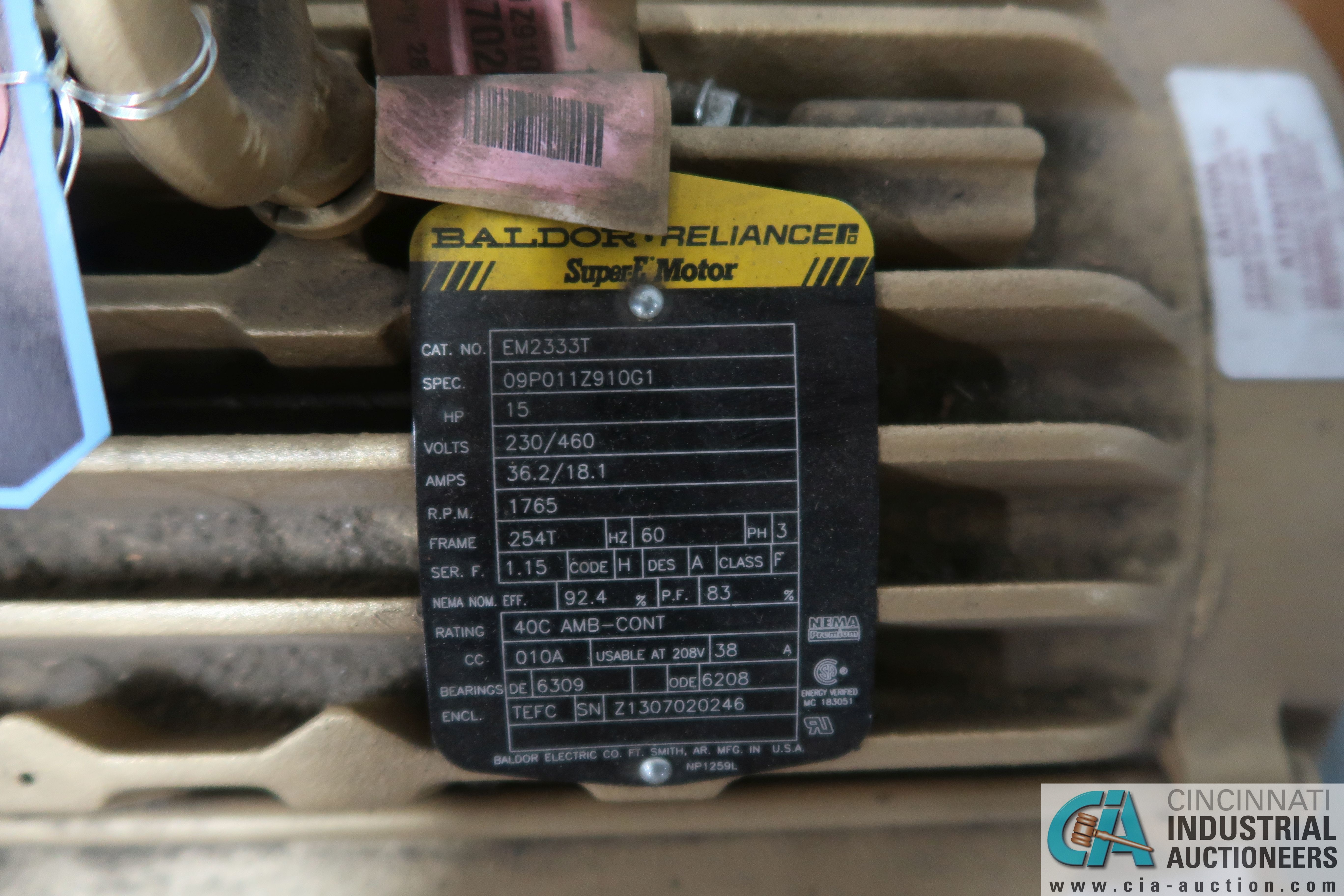 15 HP BALDOR SUPER E NEW ELECTRIC MOTOR **NEVER USED** - Image 2 of 2
