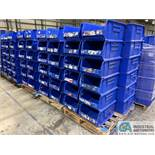"QUANTUM MODEL QUS954 STACKABLE PLASTIC HULK CONTAINERS, SIZE 16"" X 24"" X 11"" DEEP - (3) SKIDS TOTAL"