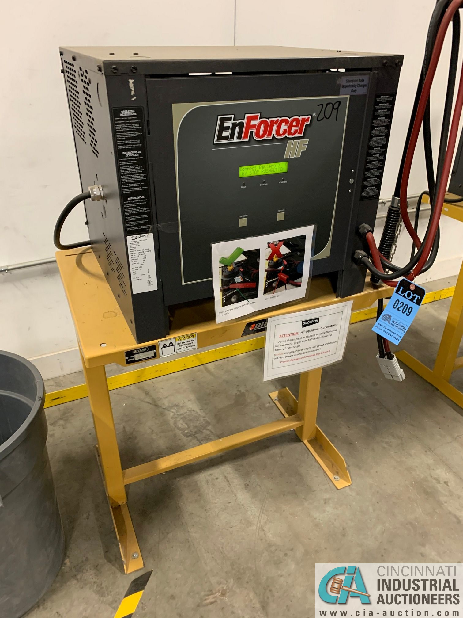 ENERSYS MODEL EH3-18-1200 ENFORCER HF BATTERY CHARGER WITH STAND **LOCATED BY START OF SALE** - Image 3 of 3