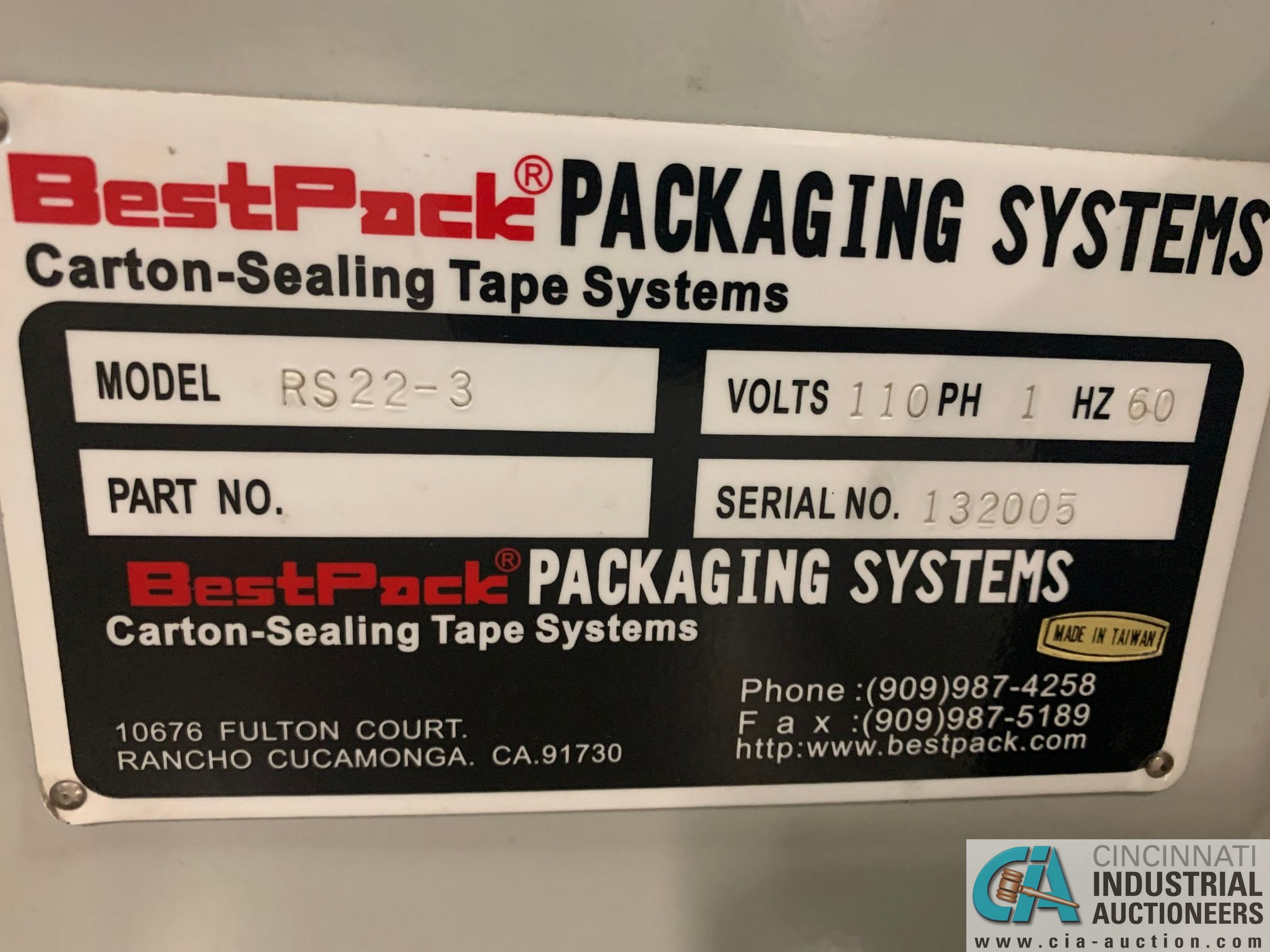 BEST PACK MODEL RS22-3H BOX TAPER; S/N 132005 (APPROX. 2013) - Image 5 of 5