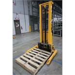 2,200 LB. CAPACITY ULINE MODEL H-5440 ELECTRIC / HYDRAULIC LIFT STRADDLE STACKER; S/N 25180200368,