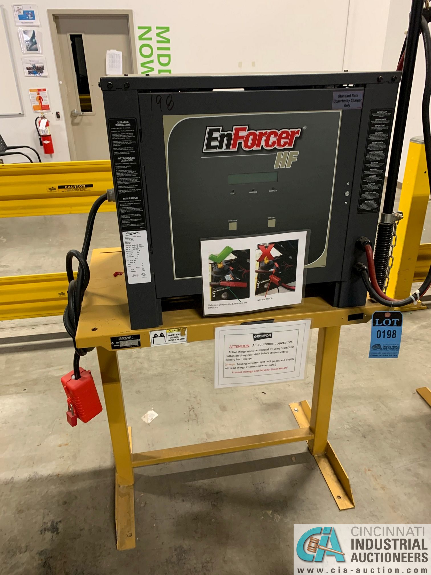 ENERSYS MODEL EH3-12-900 ENFORCER HF BATTERY CHARGER WITH STAND **LOCATED IN MAIN CHARGE AREA** - Image 3 of 4
