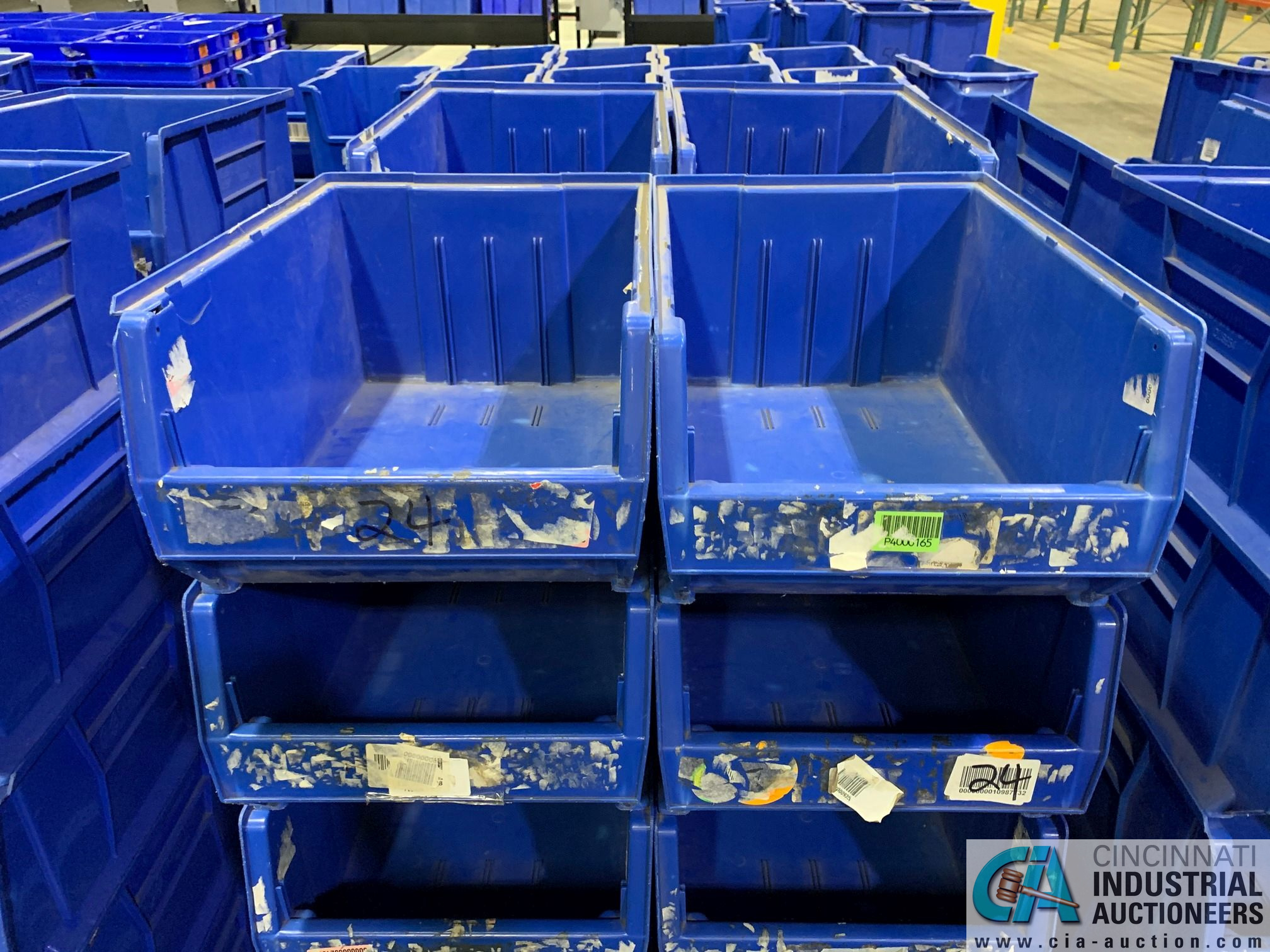 "QUANTUM MODEL QUS954 STACKABLE PLASTIC HULK CONTAINERS, SIZE 16"" X 24"" X 11"" DEEP - (3) SKIDS TOTAL - Image 5 of 5"