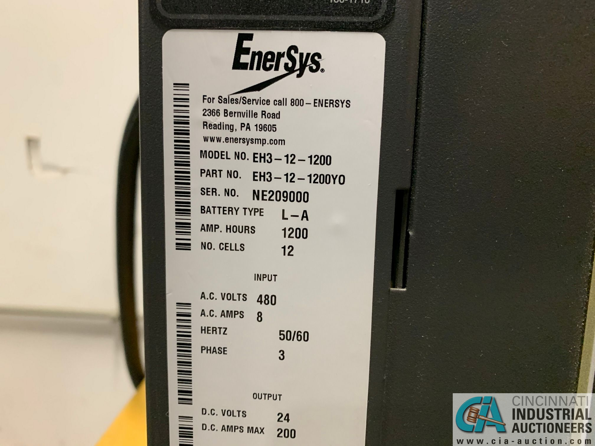 ENERSYS MODEL EH3-12-1200 ENFORCER HF BATTERY CHARGER WITH STAND **LOCATED BY START OF SALE** - Image 2 of 4