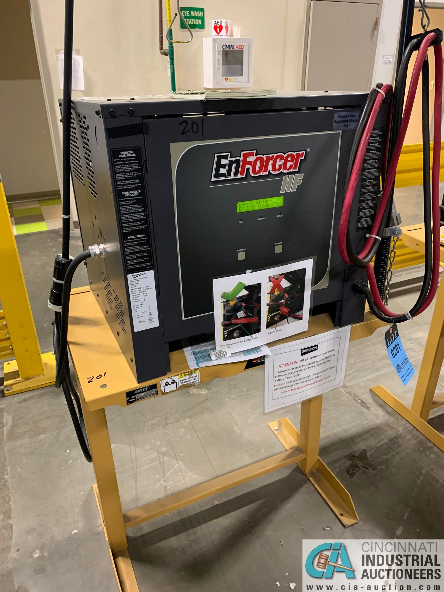 ENERSYS MODEL EH3-18-1200 ENFORCER HF BATTERY CHARGER WITH STAND **LOCATED IN MAIN CHARGE AREA** - Image 3 of 5