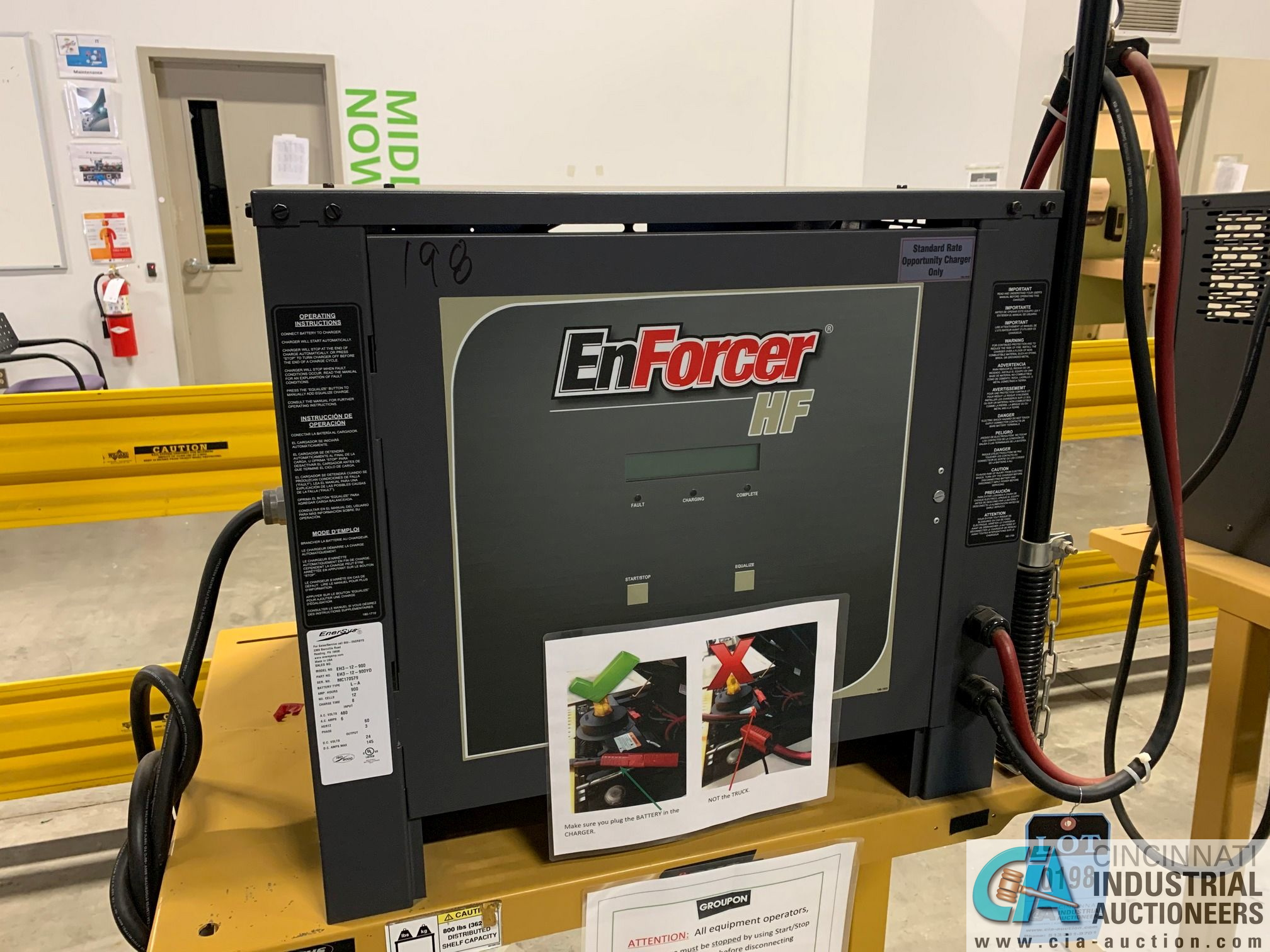 ENERSYS MODEL EH3-12-900 ENFORCER HF BATTERY CHARGER WITH STAND **LOCATED IN MAIN CHARGE AREA**