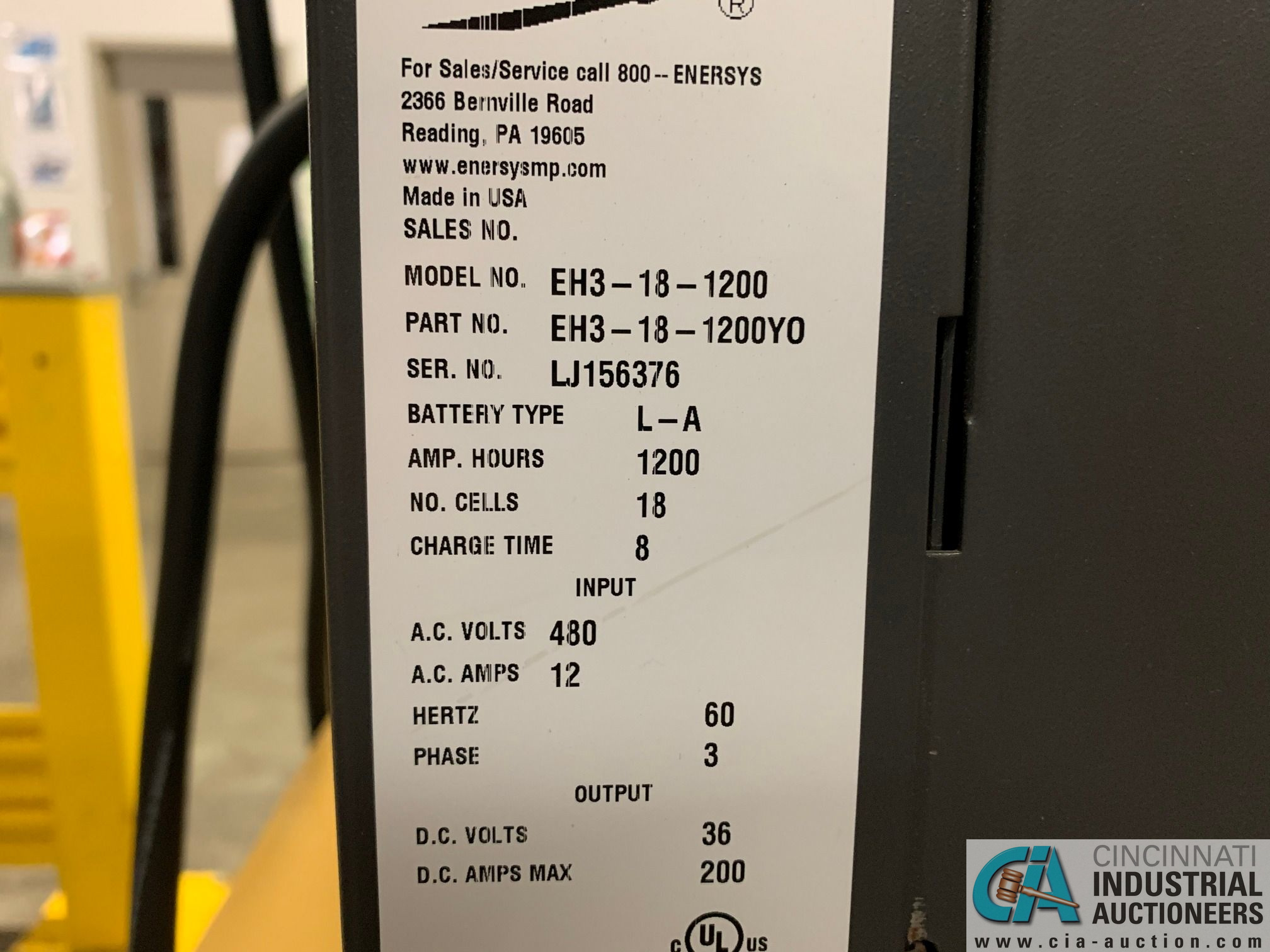 ENERSYS MODEL EH3-18-1200 ENFORCER HF BATTERY CHARGER WITH STAND **LOCATED IN MAIN CHARGE AREA** - Image 2 of 4