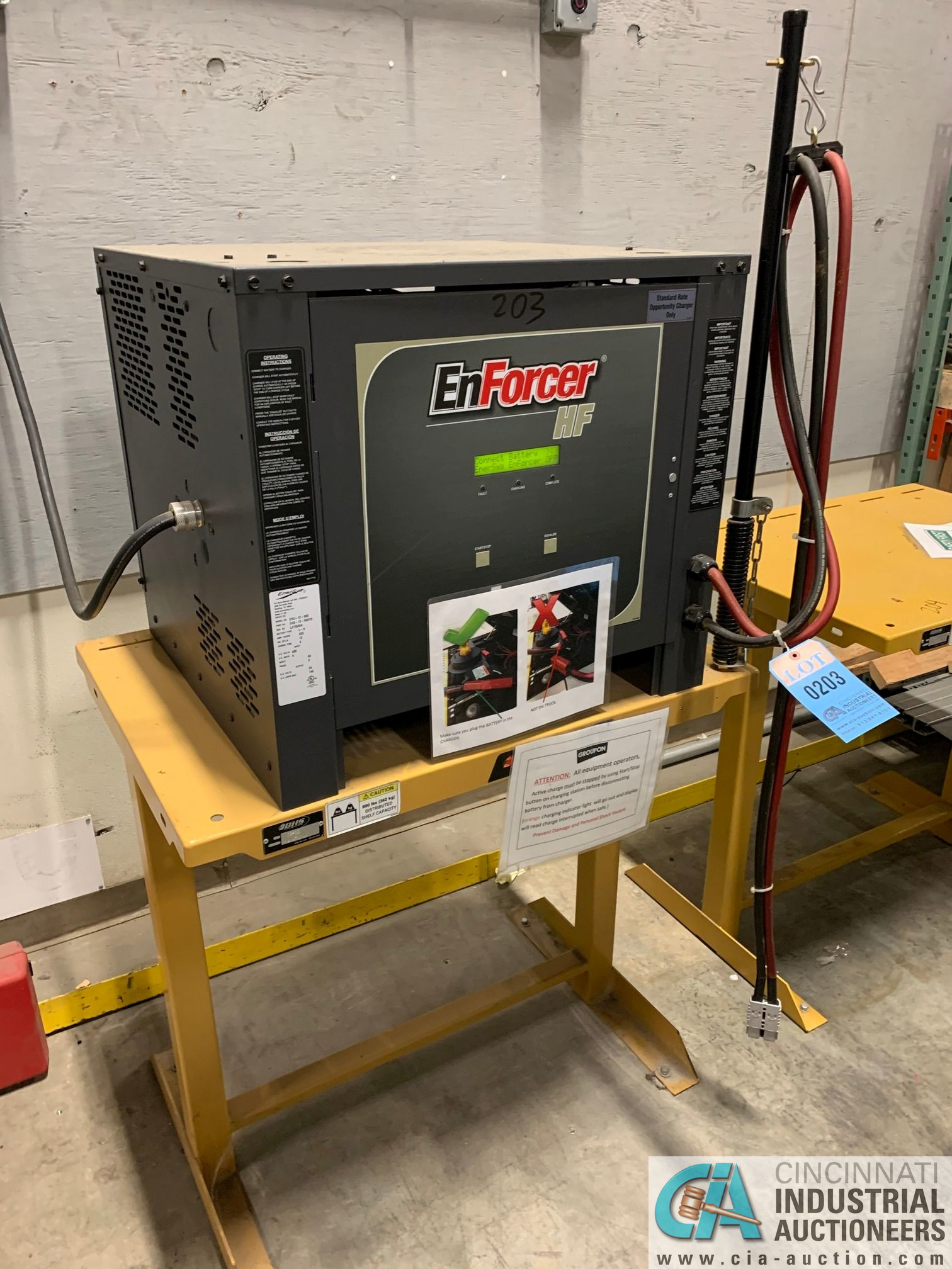 ENERSYS MODEL EH3-12-9000 ENFORCER HF BATTERY CHARGER WITH STAND **LOCATED IN AISLE BEHIND CHARGE - Image 2 of 3