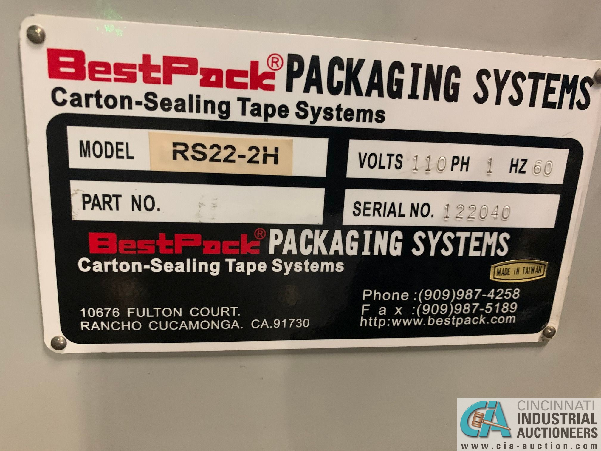 BEST PACK MODEL RS22-3H BOX TAPER; S/N 122040 (APPROX. 2013) - Image 5 of 8