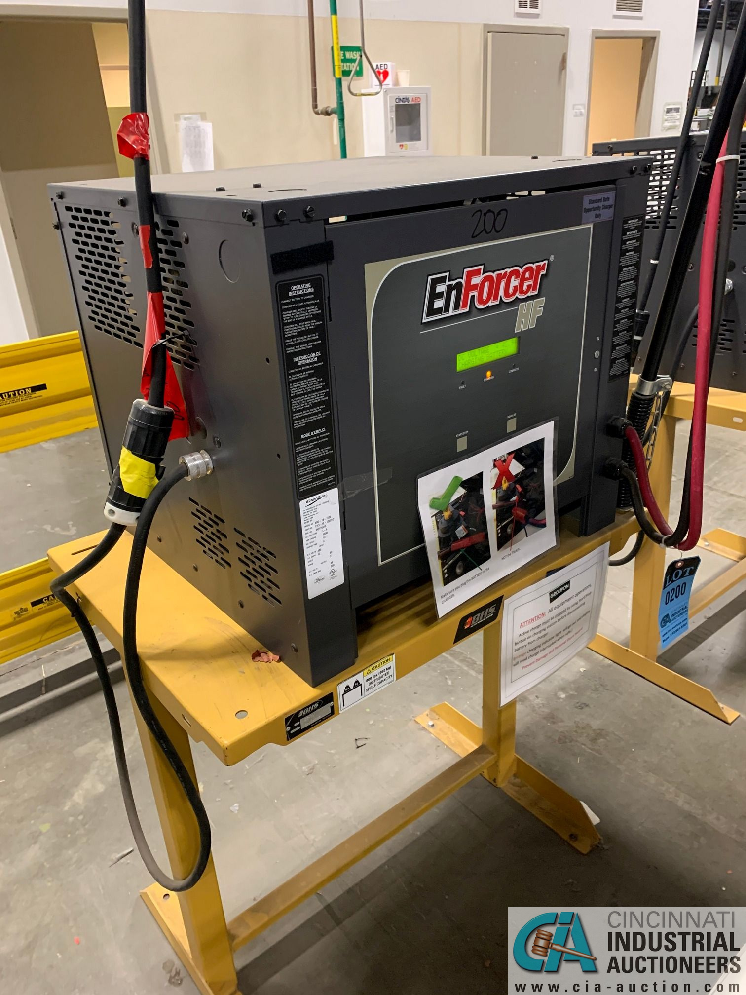 ENERSYS MODEL EH3-18-1200 ENFORCER HF BATTERY CHARGER WITH STAND **LOCATED IN MAIN CHARGE AREA** - Image 3 of 4
