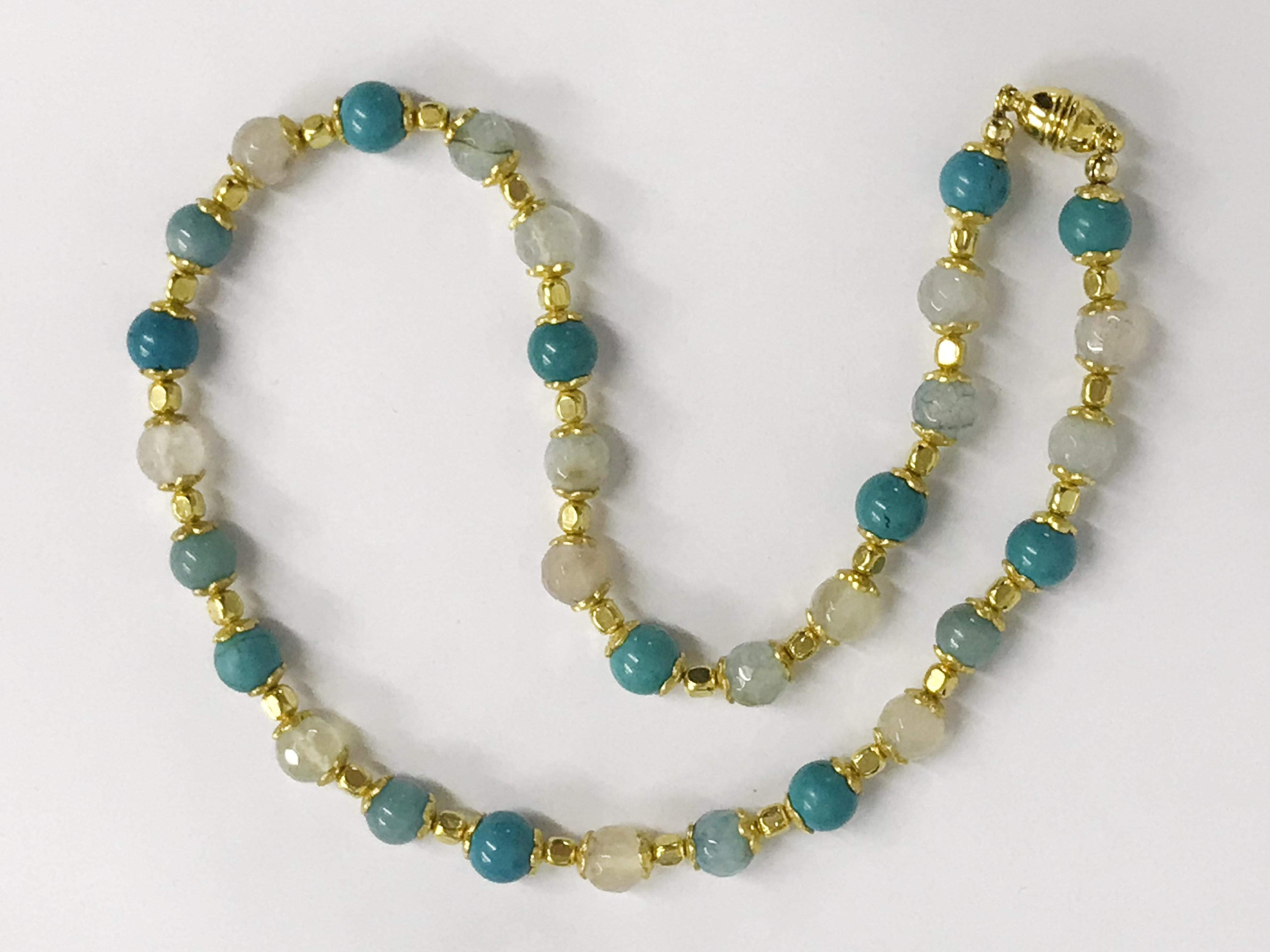 Lot 11 - 14k gilt silver gemstone necklace