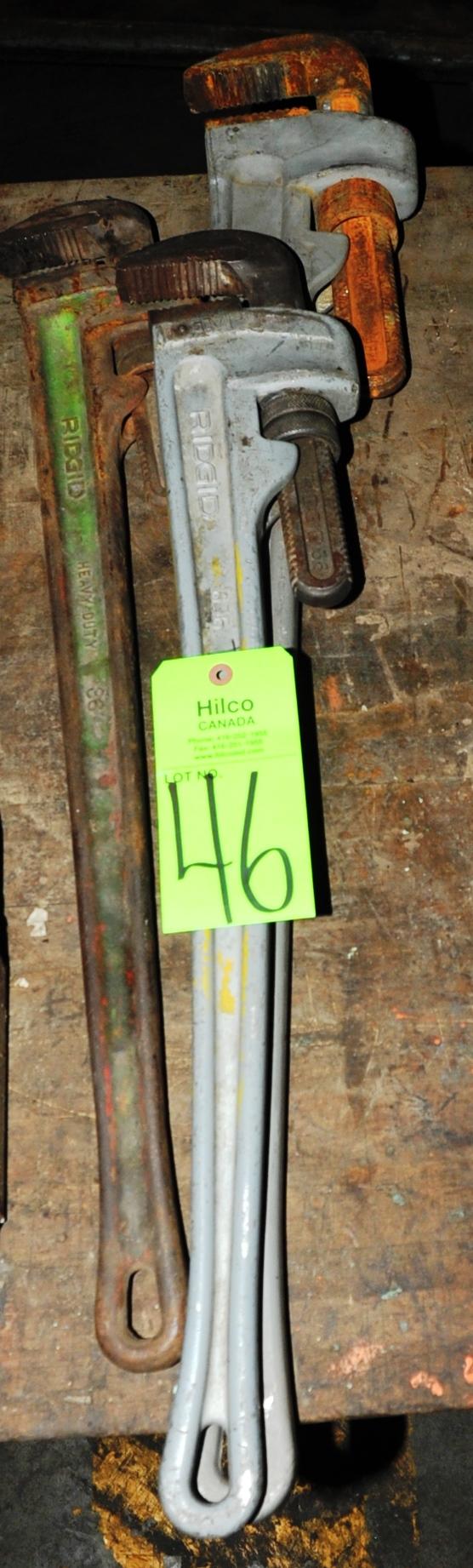 "Lot 46 - Asst. Ridgid 46"", 36"" Aluminum Pipe Wrenches"