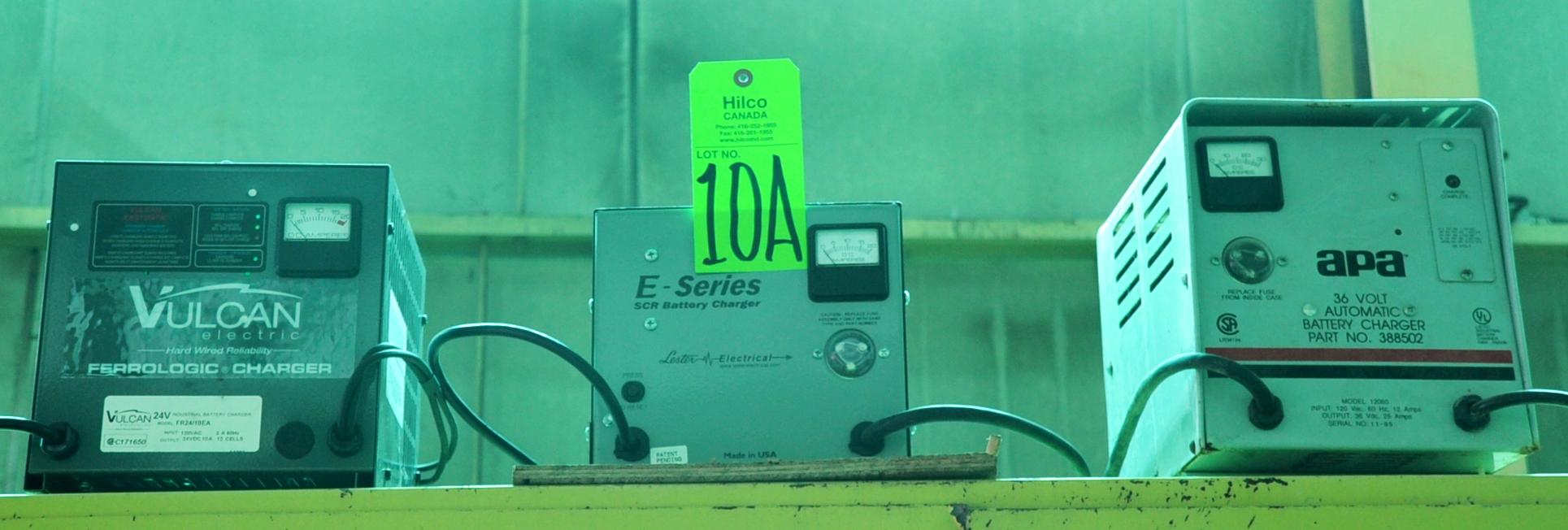Lot 10A - Asst. Vulcan, E Series 24, 36V Chargers