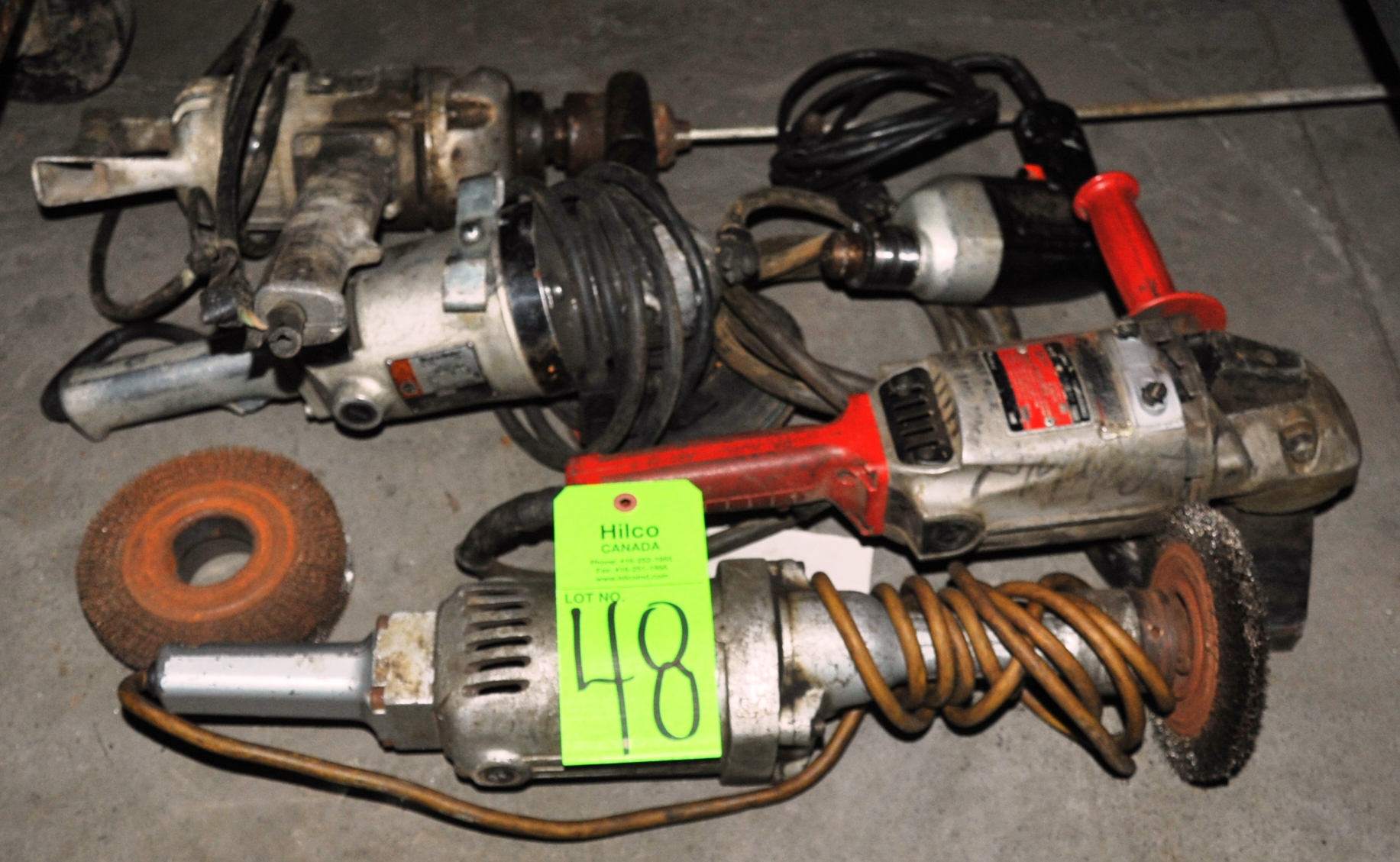 Lot 48 - Asst. Electric Angle Grinders, Drill, Mixing Drill Hand Tools