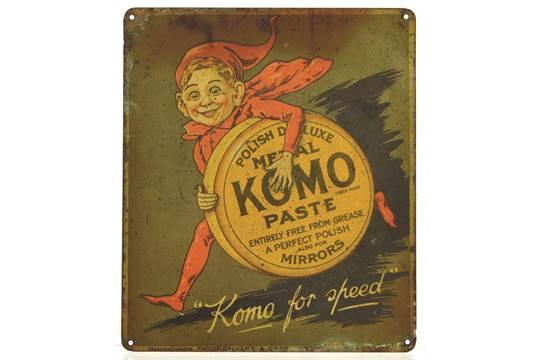 KOMO PASTE TIN ADVERT  7 x 6ins, multicoloured sign with Imp