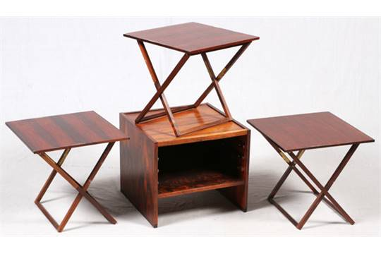 mid-century modern end table with 3 folding coffee tables stored