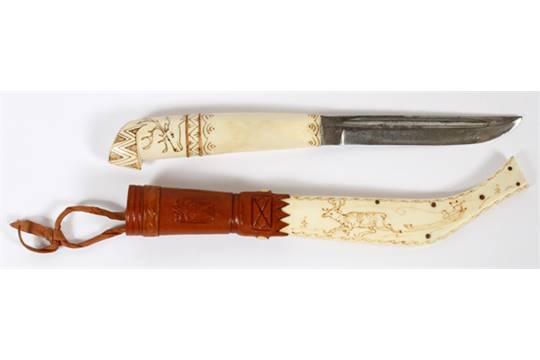Finnish Puuko Hunting Knife L 9 5 Having A Carved Bone Handle And Sheath Depicting Reindeer