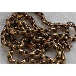 A 9ct yellow gold chain with oval links and a barrel clasp marked 9ct,