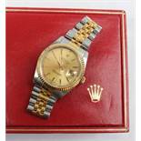 A Gentleman's Rolex Oyster perpetual datejust superlative chronometer, with a two tone strap,