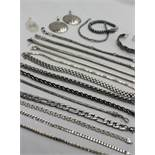 Assorted white metal and silver costume jewellery including bracelets, pendants,
