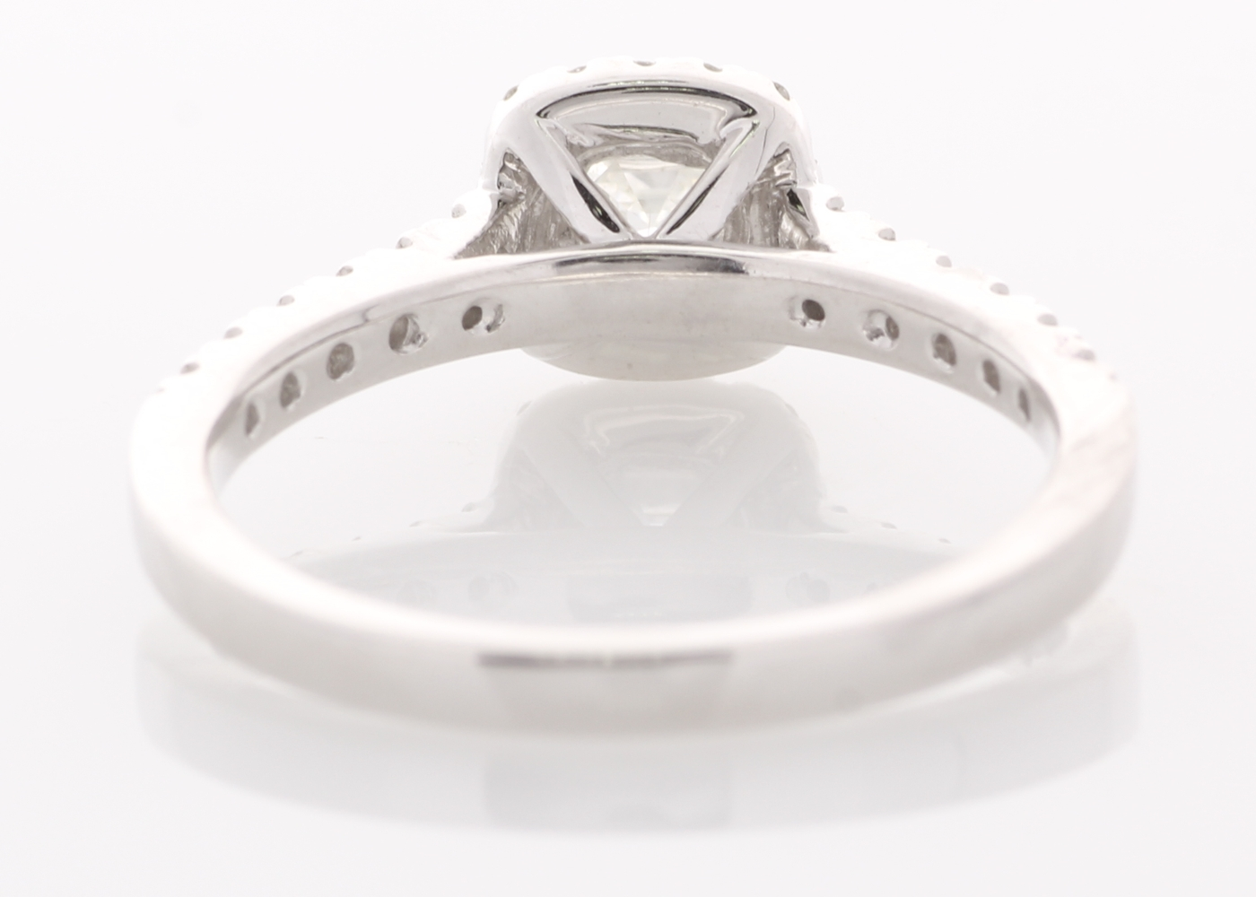 Lot 49 - 18ct White Gold Single Stone With Halo Setting Ring 0.76