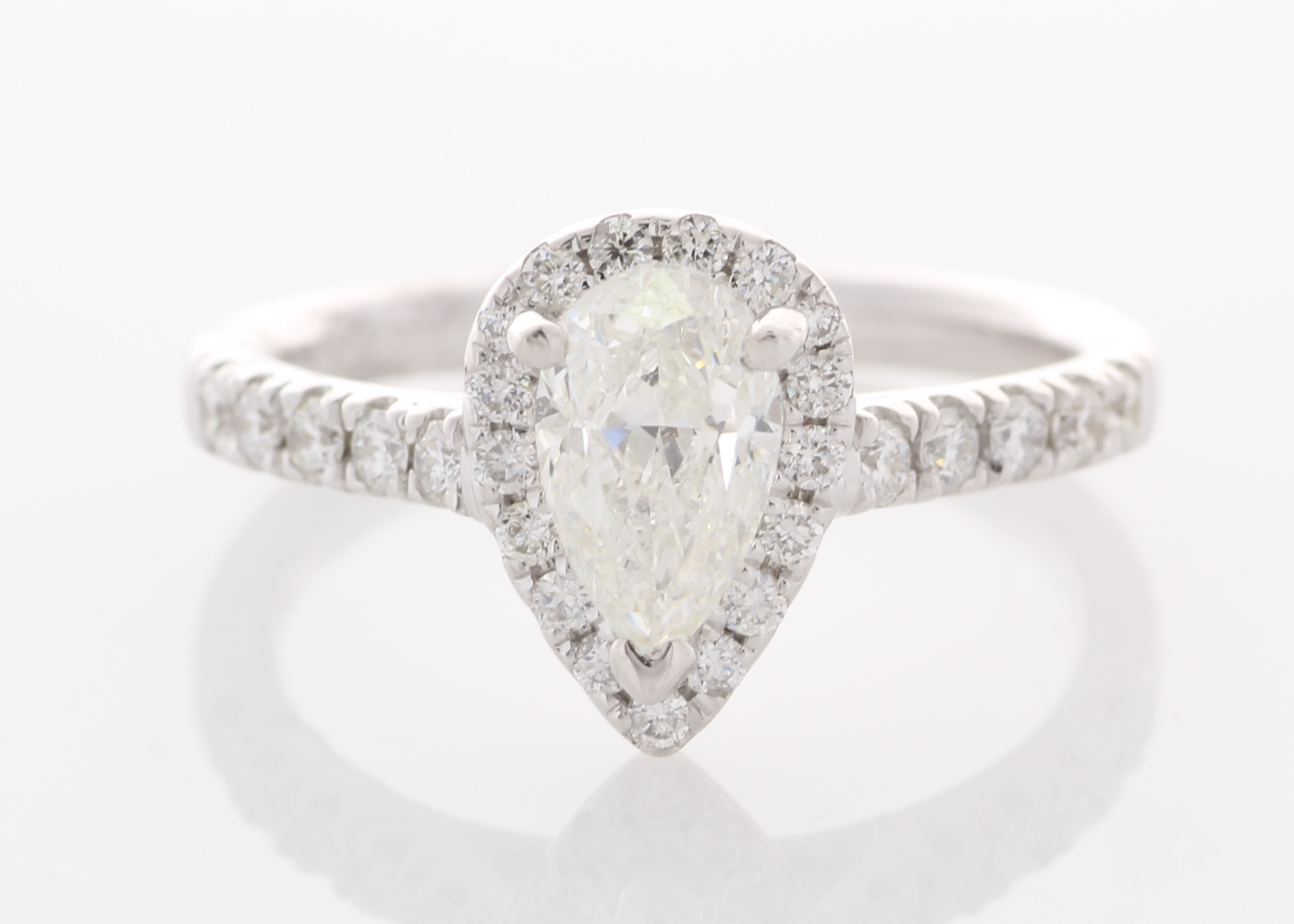 Lot 50 - 18ct White Gold Single Stone With Halo Setting Ring 1.23
