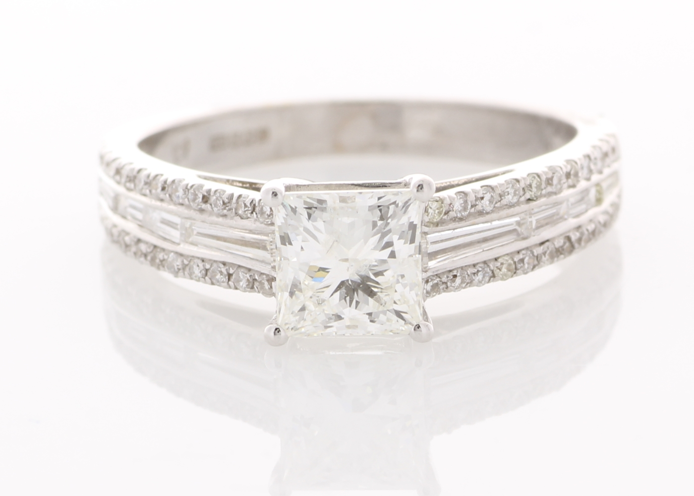 Lot 14 - 18ct White Gold Single Stone Prong Set With Stone Set Shoulders Diamond Ring 1.35