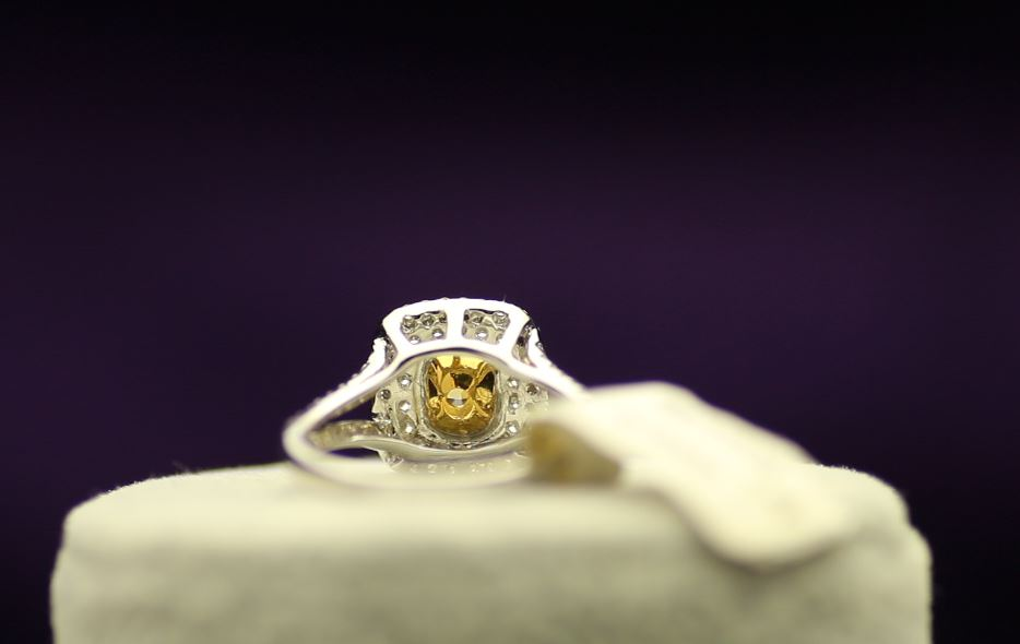 Lot 44 - 18ct White Gold Single Stone Intense Fancy Yellow With Double Halo Setting Ring 1.01