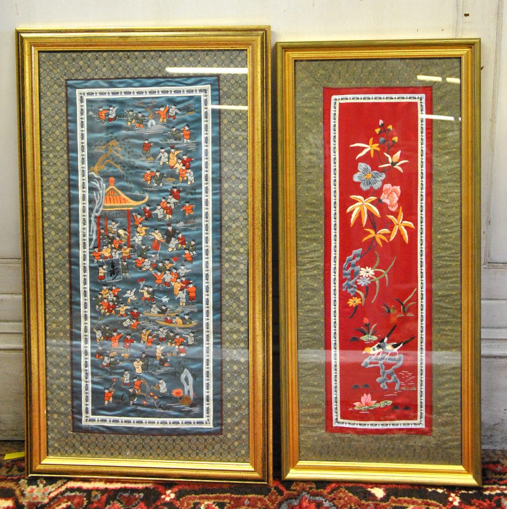 A Chinese Silk Embroidery Depicting 100 Boys, 20th Century
