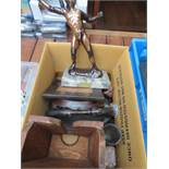 Box of wooden carvings to include Hellenic art leo
