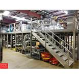 S/S Mezzanine, L-Shaped, 39' x 28' x 10', Diamond Plate Platform Rigging Fee: $10500