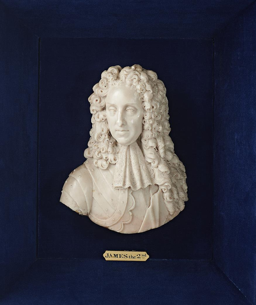 Lot 237 - λ Jacobite interest. A rare wax portrait bust of James II in the manner of David Le Marchand,