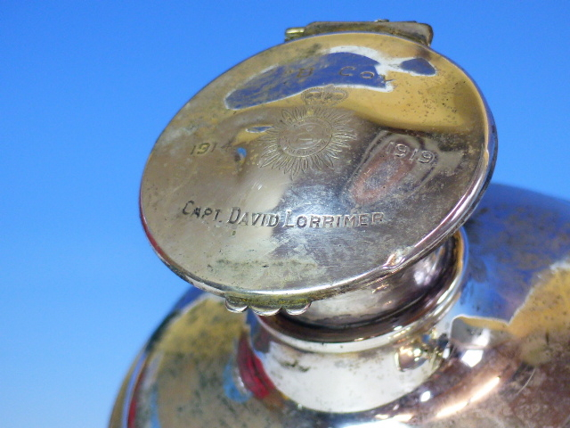 Lot 66 - TWO SILVER CAPSTAN INKWELLS, THE LARGER, B'HAM 1907 WITH 1919 INSCRIPTION, Dia.12.5, THE SMALLER,
