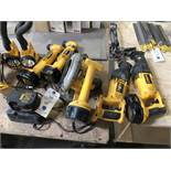 {LOT} (18) Assorted Dewalt Cordless Tools C/O Drills, Saws, Lights, Batteries and Chargers