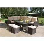 + VAT Brand New Chelsea Garden Company 8-Seater Light Brown Rattan Luxury Corner Outdoor Dining Set