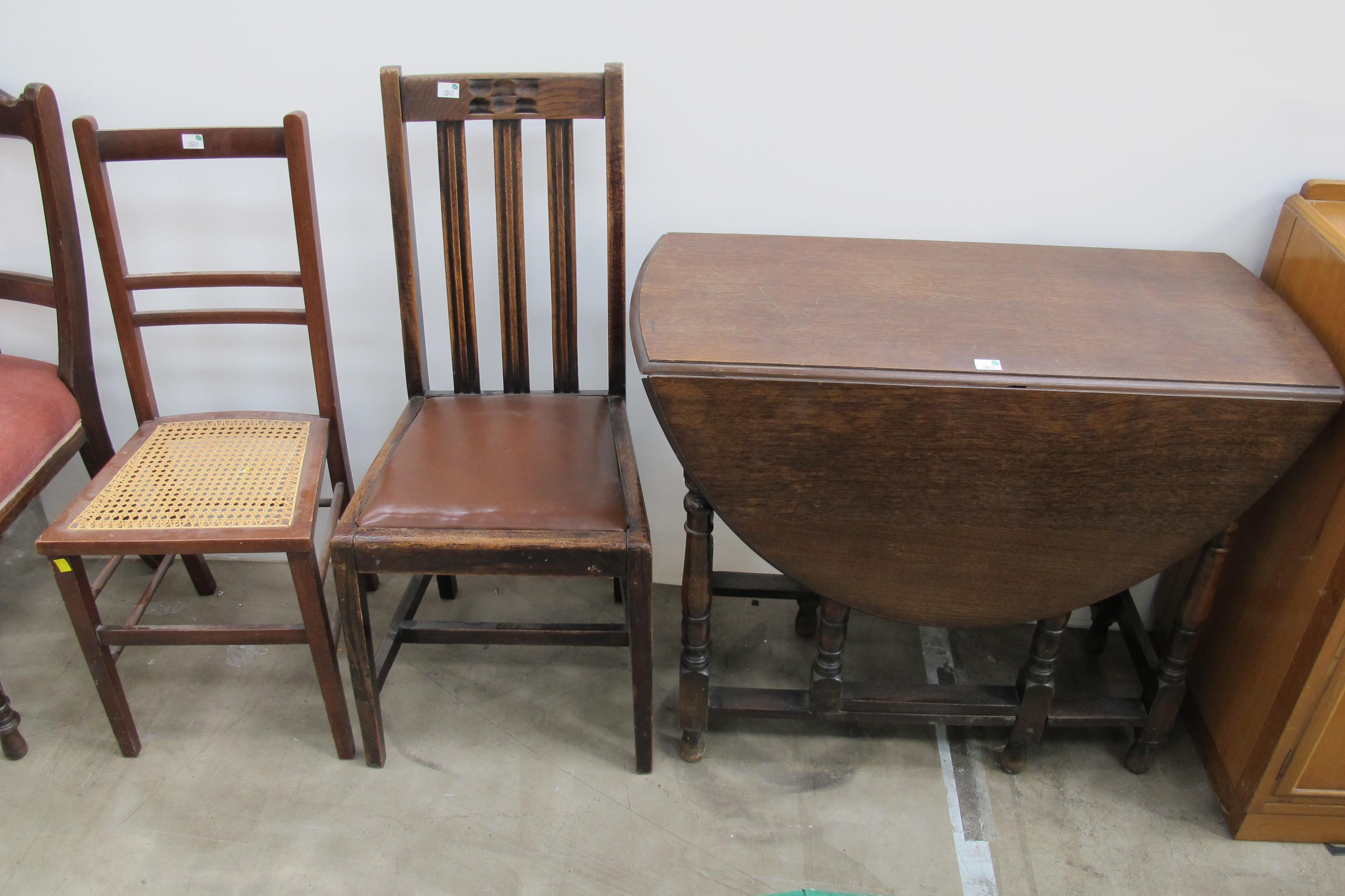An oak oval gate leg dining table four single chairs and for Single leg dining table