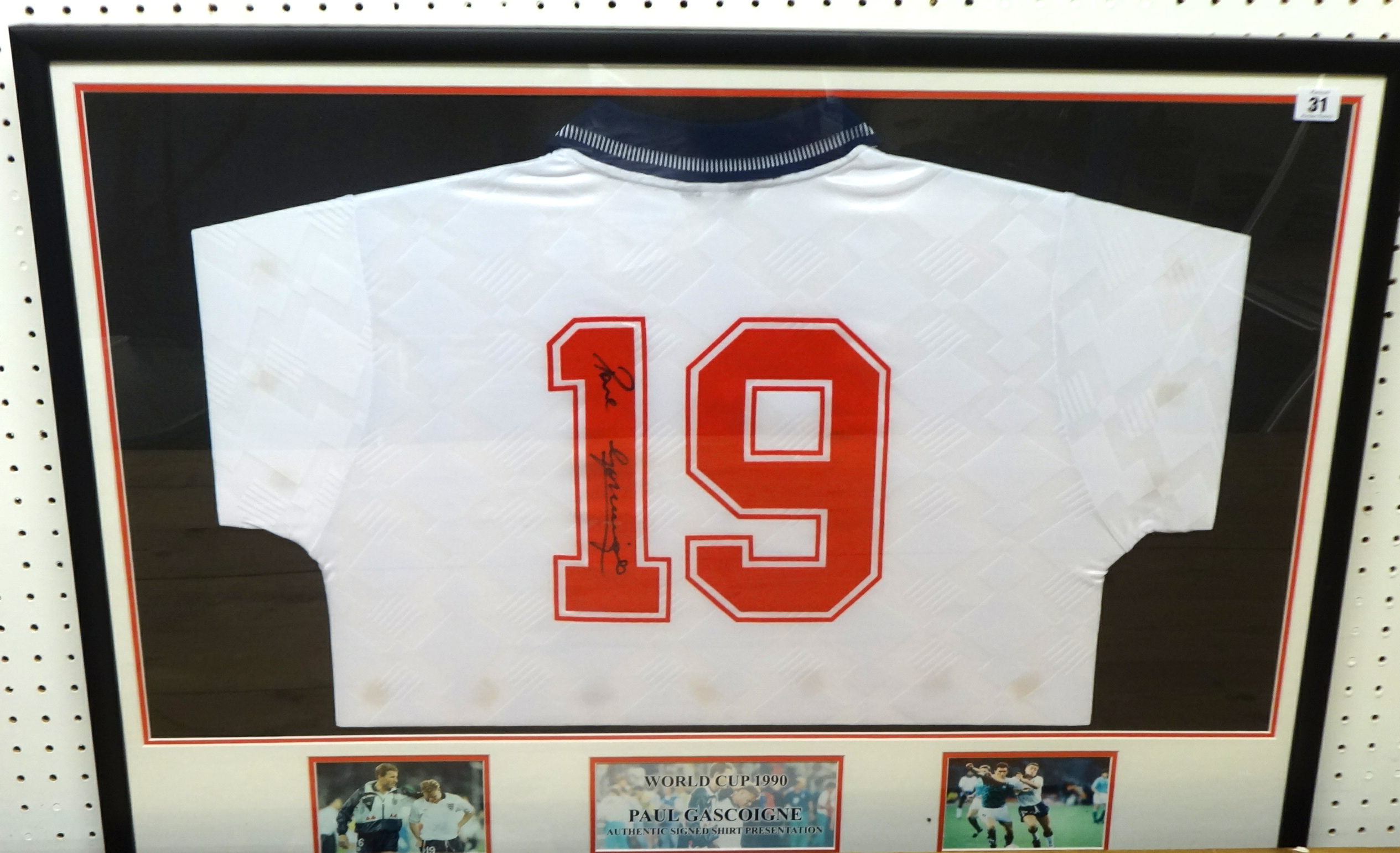 OF FOOTBALL INTEREST England shirt No 19 signed by Paul Gascoigne ...